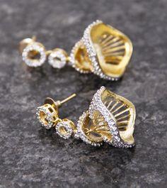 Golden Embellished Jhumki Earrings