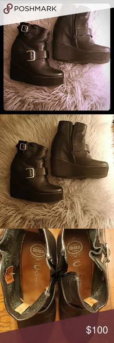 JEFFREY CAMPBELL WEDGE BOOTS Super cute and comfy hidden platform wedge booties, they are a little big for me and I've only work them once. Black leather upper with a light sole. Jeffrey Campbell Shoes Ankle Boots & Booties