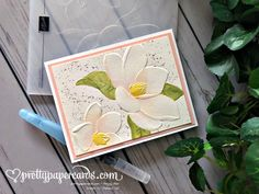 Watercolored Dry Embossing using the Stampin' Up! Magnolia Embossing Folder - Pretty Paper Cards by Peggy Noe - stampinup Watercolored Dry Embossing using the Stampin' Up! Magnolia Embossing Folder - Pretty Paper Cards by Peggy Noe - stampinup Pink Cards, Baby Cards, Embossed Cards, Flora, Stampin Up Catalog, Stamping Up Cards, Paper Cards, Embossing Folder, Flower Cards