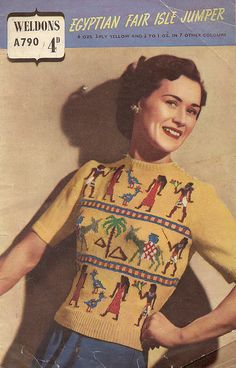 Oh man kind of cool. Knitting Pattern Egyptian Fair Isle Sweater Jumper vintage retro It's the original ugly sweater! 1940s Fashion, Vintage Fashion, Fair Isle Pullover, Fair Isles, Fair Isle Knitting, Vintage Knitting, Vintage Sweaters, Retro Vintage, Vintage Tops