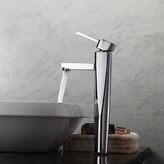 Contemporary Vessel Single Handle One Hole in Chrome Bathroom Sink Faucet – USD $ 55.67