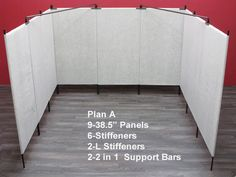 "10 x 10 booth display.  Pro Panels are great!  just get the wall to go down to 3"" not 6 or 8"" from the ground... Order walls that go up to a full 10ft."