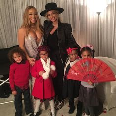 """Beyoncé backstage with Mariah Carey - All I Want for Christmas is You Tour - Beacon Theatre in NYC. December 11, 2016  """"Backstage at Christmas time with our beautiful children. @beyonce  #christmas #family #love"""" - MC"""