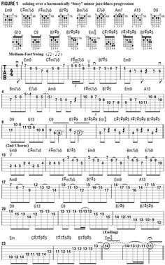 """How to Solo Over """"Busy"""" Chord Changes - Guitar World Music Theory Guitar, Guitar Chord Chart, Guitar Sheet Music, Guitar Songs, Guitar Chords, Acoustic Guitar, Guitar Quotes, Jazz Guitar Lessons, Guitar Tips"""