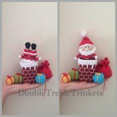 Santa in chimney crochet pattern from DoubleTrebleTrinkets. 3.00gbp