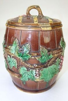 "George Jones majolica biscuit barrel with grapes, 8"","