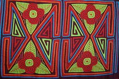 Kuna Geometric Traditional Mola Handstitched Applique Art Panel Flower Bloom 15A. Collected in the field asmatcollection on ebay.com and bonanza.com cheetahdmr@aol.com if you have any questions.