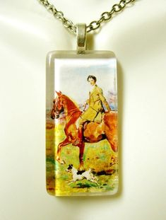 5cf2d424b4899 Brown horse and rider with terrier glass pendant and chain - HGP02-037