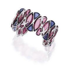 18 Karat White Gold, Pink Tourmaline, Iolite and Diamond Cuff-Bracelet, Aletto Brothers | Lot | Sotheby's