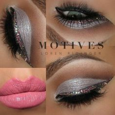~silver glitter eye makeup with cut crease and pink lips