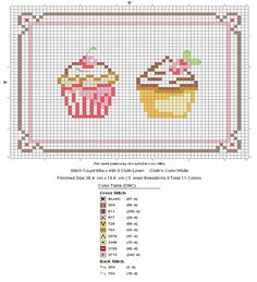 Cupcakes - free pattern for cross stitch or hama beads