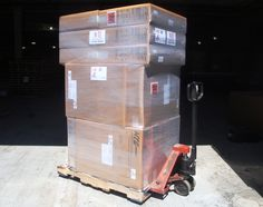 HTS Systems fleet customer pallet order waiting for Estes Express Freight pick up.