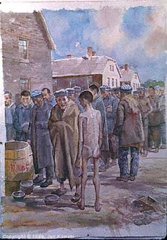 'Looking for scraps' - a painting by Jan Komski  (Polish, 1915-2002)   Food line in the main camp (Auschwitz I).