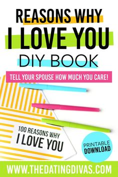 """Tell your spouse all of the things you love about them with this """"Reasons Why I Love You"""" DIY Book. Simply print, list, and gift! Dating Divas, Diy Love Book, 100 Reasons Why I Love You, Romance Tips, Christmas Gifts For Wife, Christmas Wishes, Christmas Card Template, Best Templates, Love Notes"""
