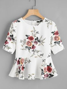 Best 12 Shop Zipper Back Ruffle Hem Peplum Top online. SheIn offers Zipper Back Ruffle Hem Peplum Top & more to fit your fashionable needs. Peplum Blouse, Peplum Tops, Sleeveless Tops, Floral Blouse, Short Sleeve Blouse, Blouse Designs, Blouses For Women, Women's Blouses, Fashion Dresses