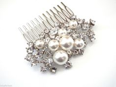 Stunning Large Pearl & Crystal Hair Comb Slide Hair Jewellery Bridal Prom