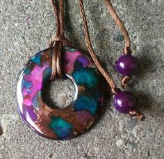 Washer pendant made with alcohol inks and Dimensional Glaze