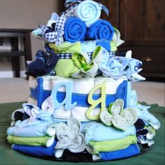 Beautiful cloth diaper cake for a baby shower - from The Zen Life
