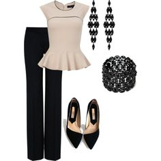 black and cream peplum :) School Fashion, Work Fashion, Women's Fashion, Fashion Outfits, Business Casual Attire, Business Outfits, Court Attire, Pretty Outfits, Cute Outfits