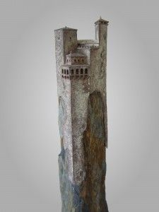 Silhouette Brons en leisteen Clay Houses, Ceramic Houses, Miniature Houses, Stone Sculpture, Sculpture Art, Architectural Sculpture, Medieval Houses, Sculptures Céramiques, Fantasy House