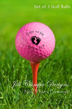 Personalized Pink Golf Ball Birth Announcement and Baby Reveal