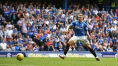 Martyn Waghorn scores Rangers first goal back in the top league.  Equalising against Hamilton in the 1-1 draw.