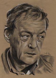 Philippe Léotard , portrait au fusain sur papier Kraft