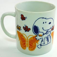 Snoopy in Springtime w/ Butterflies Mug Peanuts Cup 1958 Vintage Rare Free Ship
