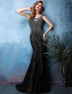 a1962ffd4b0 2016 Sexy Sparkly Mermaid Backless Beading Rhinestone Crystal Black Evening  Dress