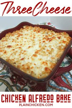 Three Cheese Chicken Alfredo Bake - great make-ahead pasta dish. Elbow macaroni, alfredo sauce, sour cream, ricotta, garlic, chicken, eggs, parmesan and mozzarella cheese. SO good!! We make this at least once a month! Can freeze half for later. This is THE BEST pasta casserole we've ever eaten! #casserole #freezermeal #chicken #pasta
