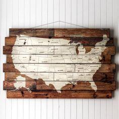 USA Printed Wood Wall Map