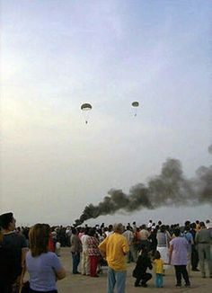 Greek Army paratroops re-enact the German landings on Maleme airfield during commemorations to mark the 60th anniversary of the Battle for Crete, 20 May 2001.