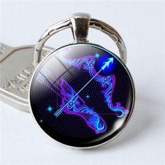 Key Chain Gift one jewerly Aquarius Keyring Purple Horoscope Keyring Zodiac Keychain Constellation Charms Aquarius Star Sign Purple Star Sign One Life