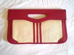 Vintage Red and Straw Clutch by jclairep on Etsy, $14.00