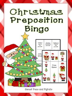 Here's a fun, Christmas-themed preposition bingo game! There are 5 different game boards and 20 calling cards that would be perfect to use in small groups. Prepositions targeted:-over-under-behind-in front-next toPrint, laminate, and cut apart the calling cards.