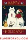 Snow Cats House Flag Cat Garden, House Flags, Garden Flags, Holiday, Christmas, Snoopy, Cats, Winter, Character