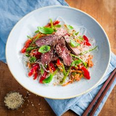 Seared venison with plum ginger sauce and vermicelli sauce by Nadia Lim | NadiaLim.com
