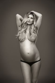 Maternity Photography Pose Ideas - Covered Nude Pregnant in Black and White - Marisa Miller