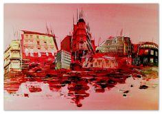 Diese Skyline ist anders... sie ist real, zeigt Gebäude aus Hamburg und bleibt gleichzeitig abstrakt und perspektivisch unsymmetrisch. Die rote Farbe der Häuser und der Spiegelung gibt dem Werk etwas kräftiges und leghaftes.