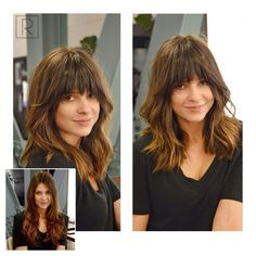 Love this lob haircut with angled bangs