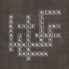 Personalized Modern Family Tree (Scrabble or Crossword) - this would be so cool to do on a wall, maybe for a kid's room :)