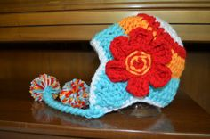 Aqua Orange Red and White  Large Red by HotOffTheHookCrochet, $28.00