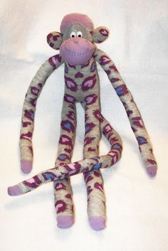 Sock Monkey Doll Plush Toy in Purple Blue by AsYouWishCreations4u, $27.00