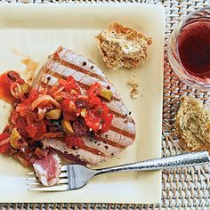 Grilled Tuna with Mediterranean Sauce | Coastalliving.com