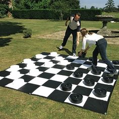 Giant Chess / Checkers - Mat Only, Giant Games, Fun for everyone! A great way for beginners to learn the games. Perfect for an outdoor or gym setting. Heavy-duty vinyl with grommets and includes pegs for the grass. SIZE: 10 x 10 . Garden Games, Backyard Games, Giant Lawn Games, Giant Outdoor Games, Outdoor Play, Outdoor Checkers, Outdoor Wedding Games, Fun Games, Games For Kids