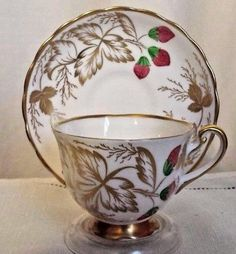 Royal Chelsea Tea Cup and Saucer Set Gold and Strawberries