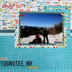 From @Samantha Taylor - Togwotee Snowmobiling Travel Layout - merging a husband's love of snowmobiling with a wife's love of #scrapbooking! #Cre8time