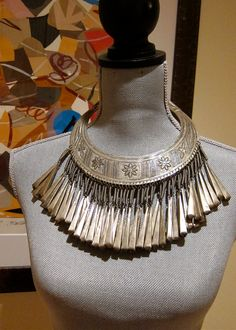 Hmong Silver Torque Necklace Single Tier 55 by TooArtfulForYou