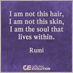 """""""I am not this hair, I am not this skin; I am the soul that lives within.""""  --Rumi"""