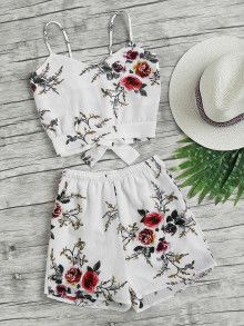 Floral Print Random Split Bow Tie Back Cami Top With Shorts